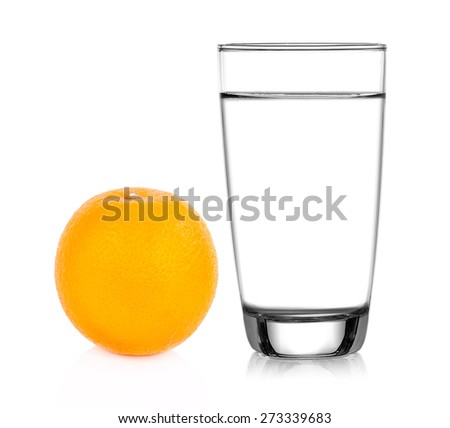 Ripe orange and a Glass of water on white backgruond - stock photo
