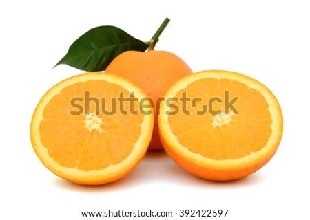 Ripe Orange fruit with half isolated on white background - stock photo