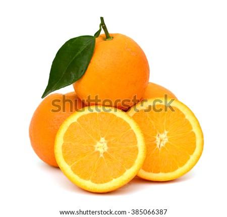 Ripe orange fruits with slices isolated on white background - stock photo