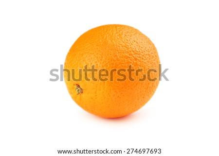 Ripe orange isolated on white - stock photo