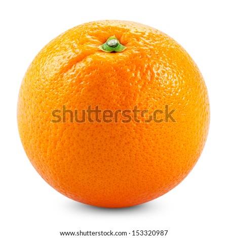 Ripe orange isolated on white background - stock photo