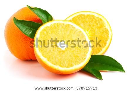 Ripe orange isolated on white background. - stock photo