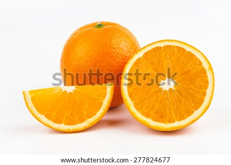 Ripe orange on white background - stock photo
