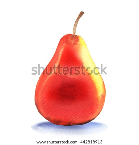 Ripe orange pear isolated on white background - stock photo