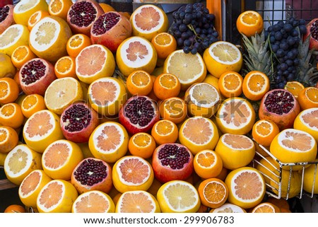 Ripe oranges and grenades for receiving freshly squeezed juice for sale in the street of Istanbul. Turkey . Close up - stock photo