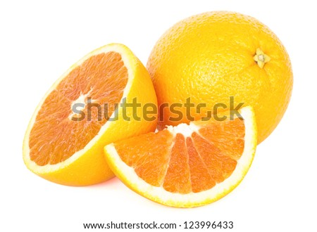 Ripe oranges on the white background - stock photo