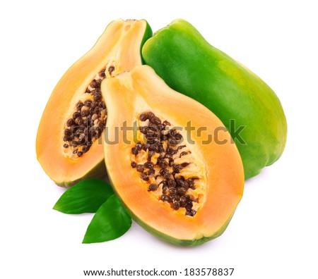 Ripe papaya isolated on white - stock photo