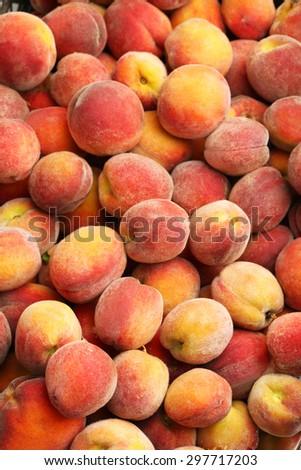 Ripe peach fruit background, close up - stock photo