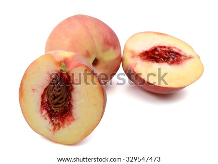 ripe peach fruit isolated on white  - stock photo