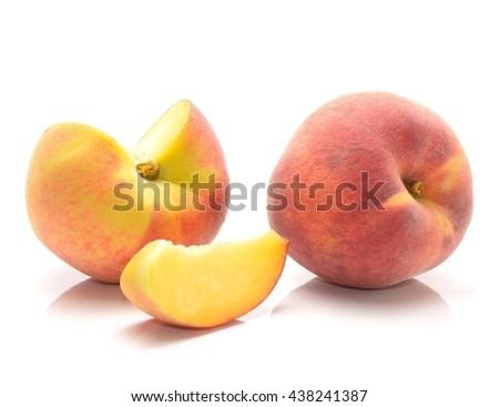 Ripe peach fruit isolated on white background - stock photo