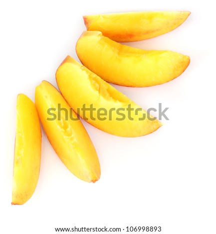 ripe peach slices isolated on white - stock photo