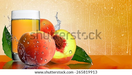 Ripe peaches and a glass of juice. - stock photo