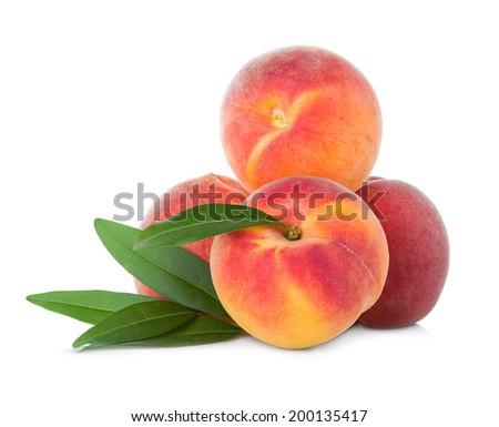 Ripe peaches fruit isolated on white background - stock photo
