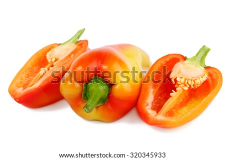Ripe peppers isolated on white - stock photo