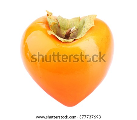 Ripe persimmon in heart shape isolated on white - stock photo