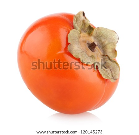 ripe persimmon isolated on white - stock photo