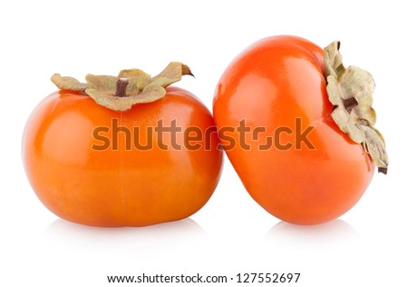 ripe persimmons isolated on white - stock photo