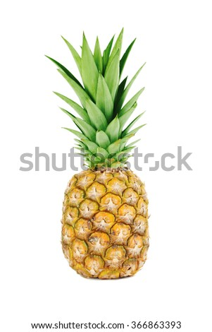 Ripe pineapple isolated on a white - stock photo