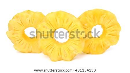 Ripe pineapple slices isolated on white background - stock photo