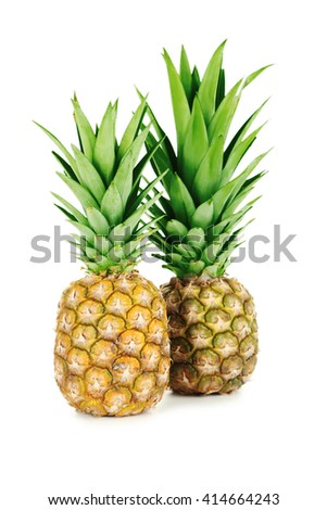 Ripe pineapples isolated on a white - stock photo