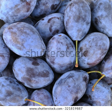 Ripe plums, background, shallow DOF - stock photo