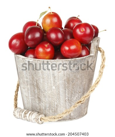 Ripe plums in pail isolated on white  - stock photo