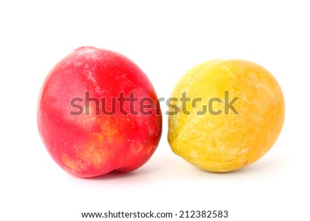 Ripe plums white background isolated  - stock photo