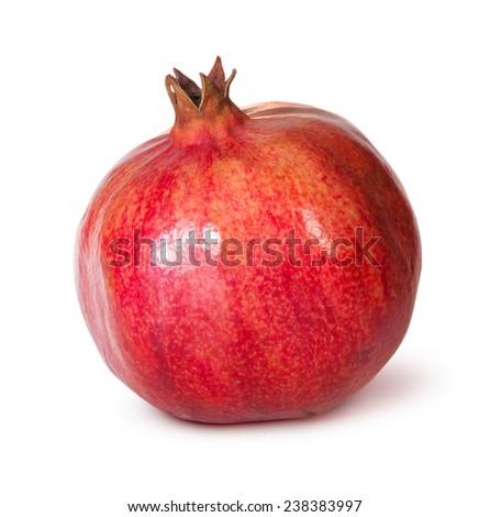 Ripe Pomegranate Fruit Isolated On White Background - stock photo