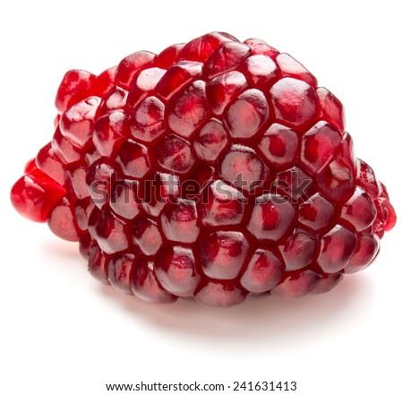 Ripe pomegranate fruit segment isolated on white background cutout - stock photo