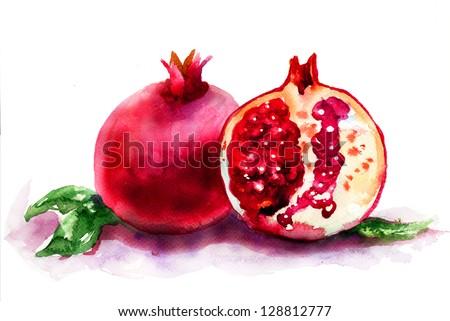 Ripe pomegranate fruit, watercolor illustration - stock photo