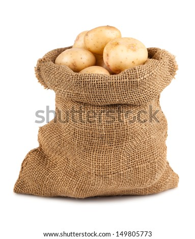 Ripe potato in burlap sack isolated on white background - stock photo