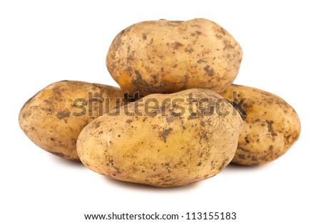Ripe potatoes isolated on white background - stock photo