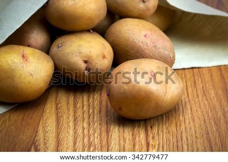 ripe potatoes on the table - stock photo