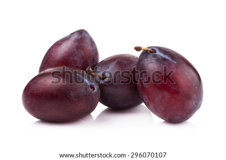 ripe prune or plum isolated on a white background. - stock photo