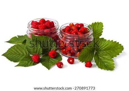 Ripe Raspberries in a bank on a white background - stock photo