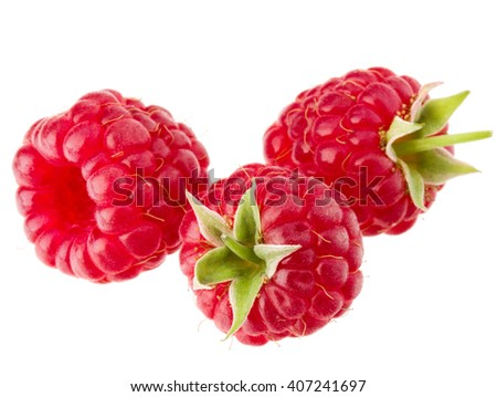 ripe raspberries isolated on white background close up - stock photo