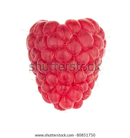Ripe raspberry isolated on a white background - stock photo
