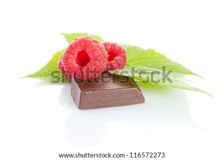 ripe raspberry on chocolate bar isolated on white - stock photo