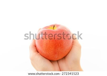 Ripe red apple - stock photo