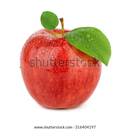 Ripe red apple on a white background - stock photo