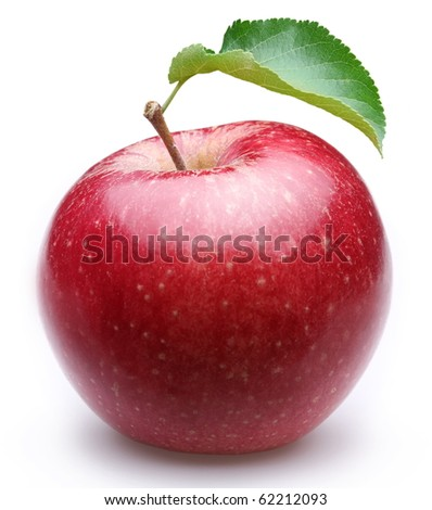 Ripe red apple with a leaf. Isolated on a white background. - stock photo