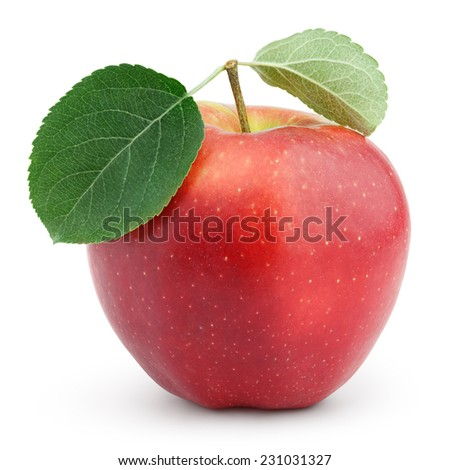 Ripe red apple with green leaves isolated on white background with clipping path - stock photo