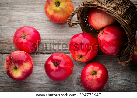 Ripe red apples on table close up. - stock photo