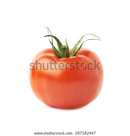 Ripe red tomato isolated over the white background - stock photo