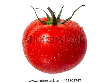 Ripe, red tomatoes on the isolated background - stock photo