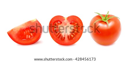 Ripe red whole tomato, half and slice of tomato isolated on a white background. Design element for product label, catalog print, web use. - stock photo