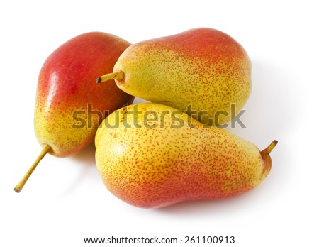 Ripe red-yellow pear fruit isolated on white background - stock photo