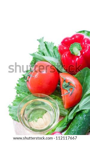 Ripe salad on wood desk. - stock photo
