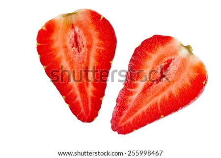 Ripe sliced strawberry fruit on a white background. isolated - stock photo