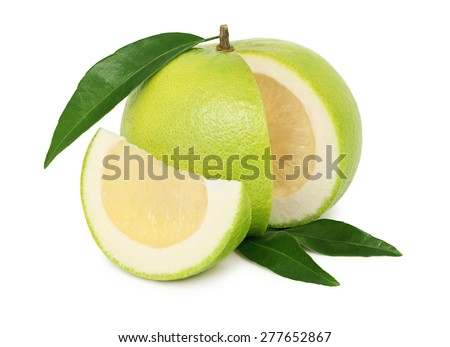 Ripe sliced sweetie with green leaves isolated on white background - stock photo